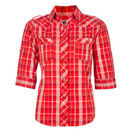 red plaid women's work shirt