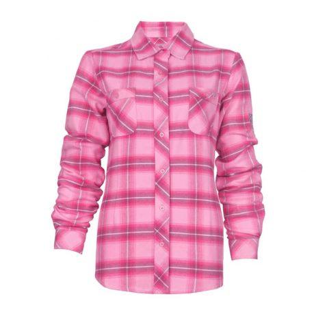 pink plaid flannel ladies shirt