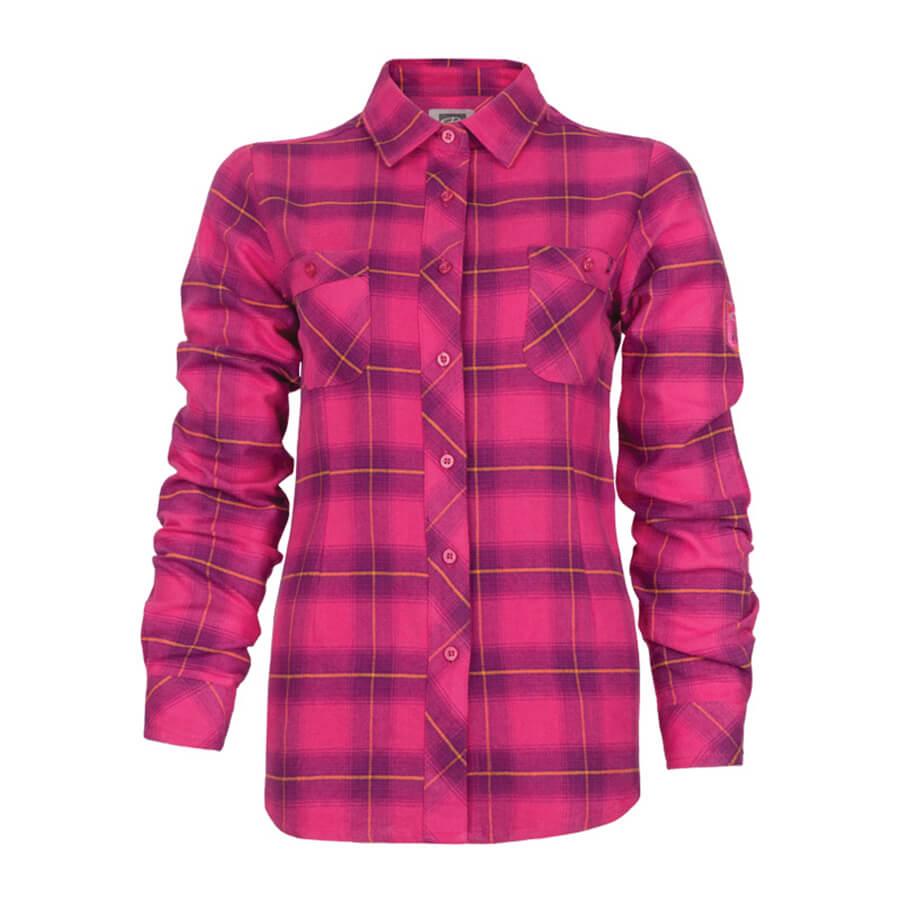 pink plaid flannel women's shirt