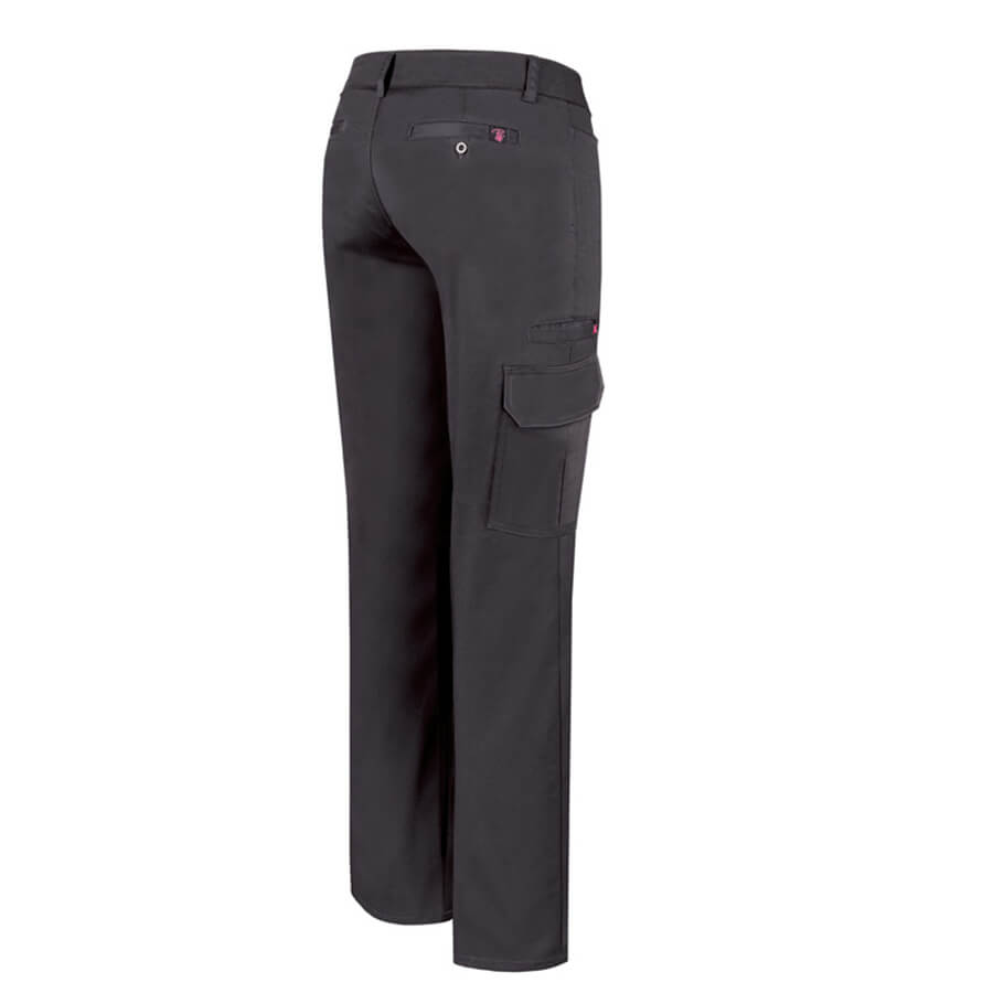 women's black stretch cargo pants back