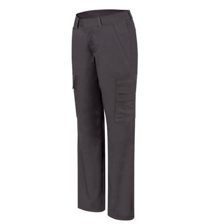 ladies black stretch cargo pants front