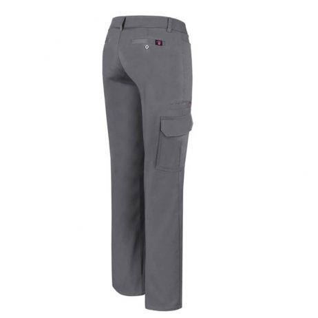 ladies gray stretch cargo pants back