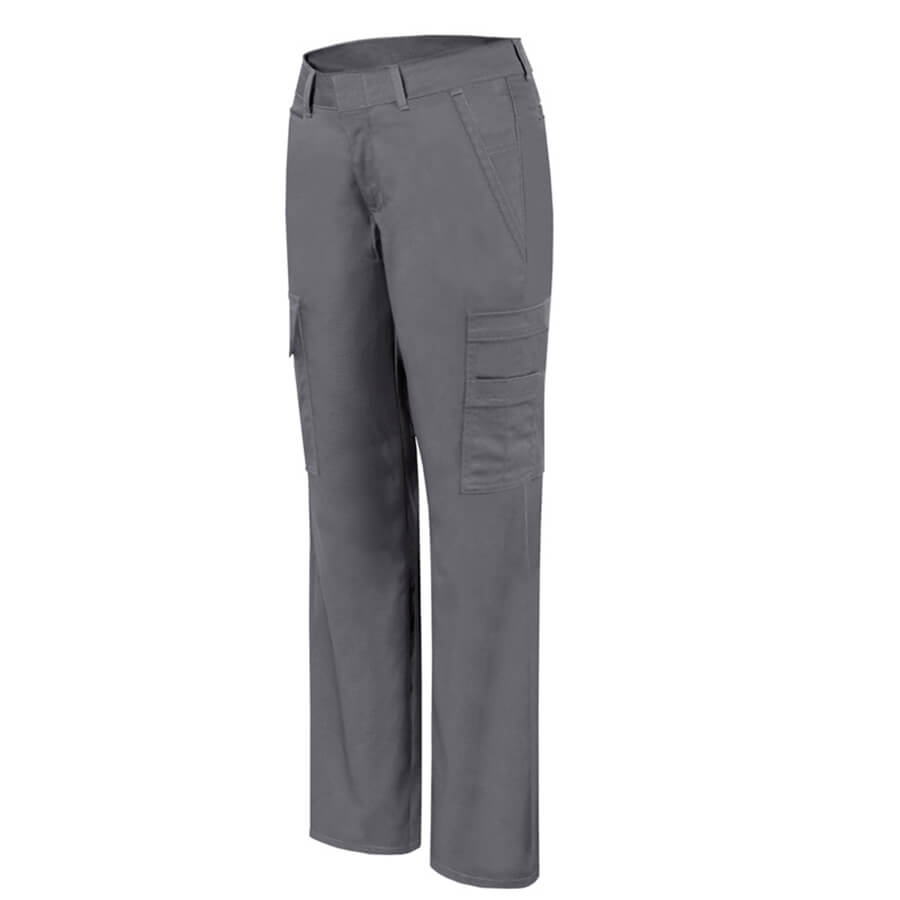 women's grey stretch cargo pants front
