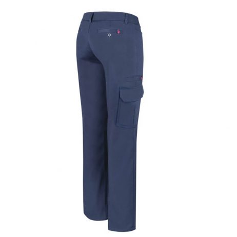 women's navy stretch cargo pants back