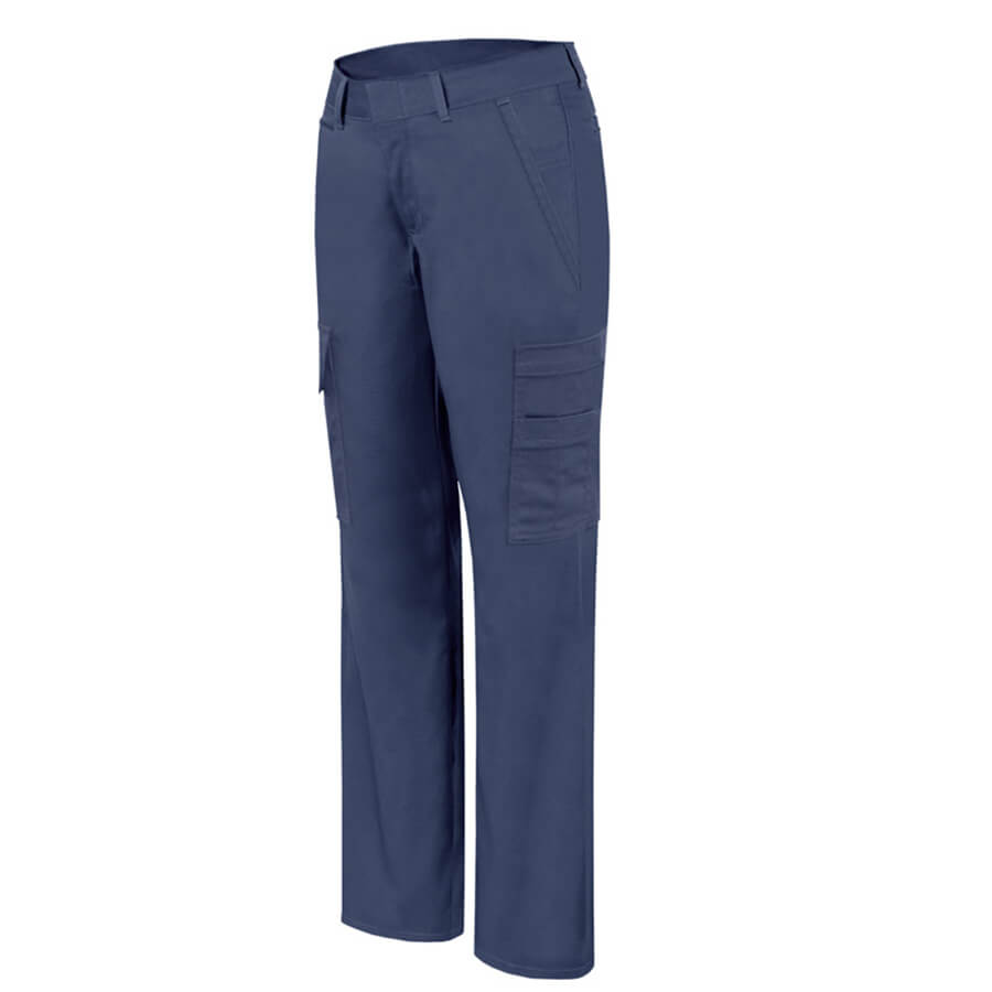 ladies navy stretch cargo pants front