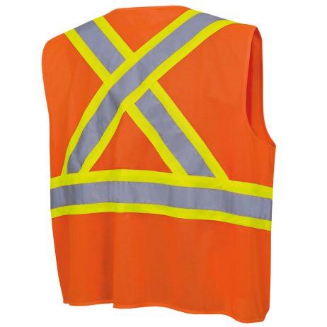 tricot hi-viz orange vest back