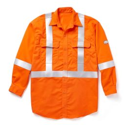 hi-viz orange flame resistant work shirt