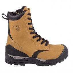 "8"" Waterproof Laced Work Boots With Zipper"