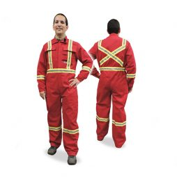 Man is wearing a red, hi viz striped Fr coverall