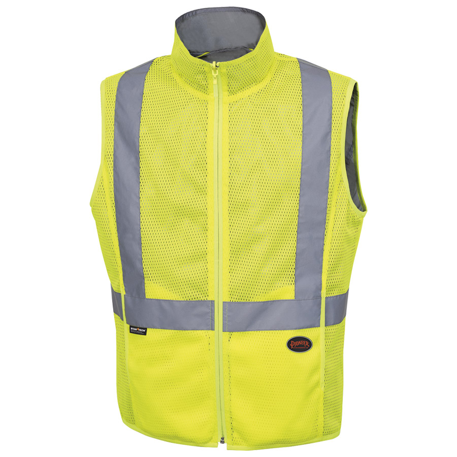 reversible high visibility slim fit vest with high visibility striping