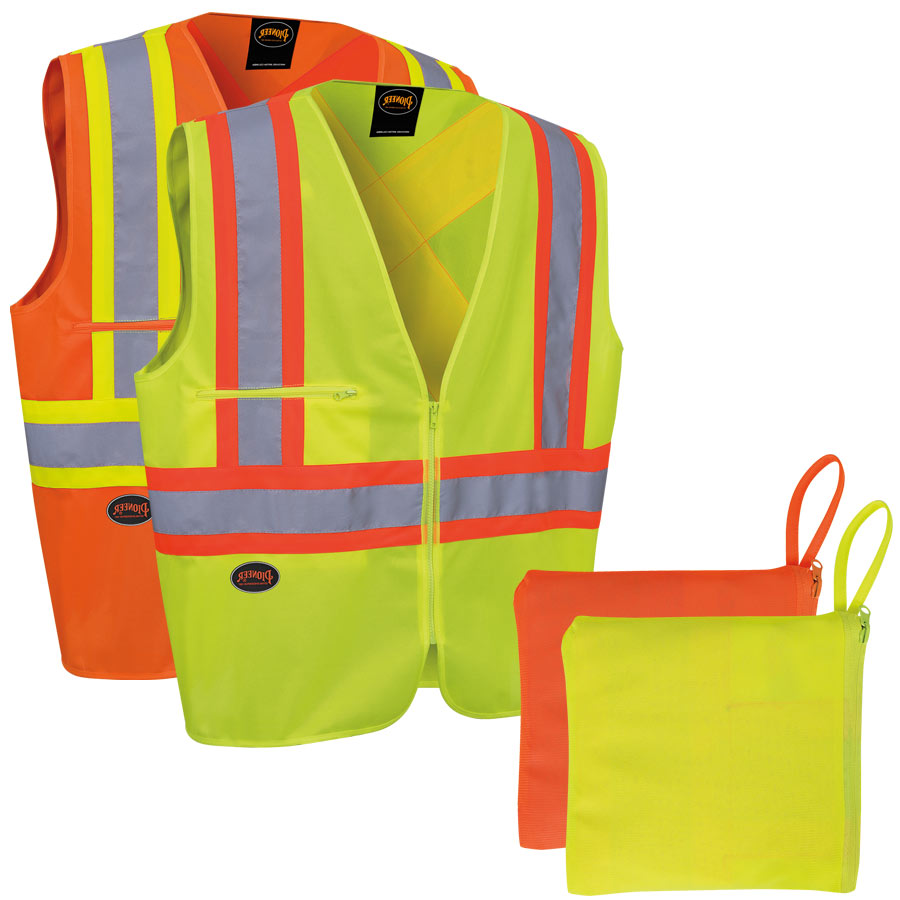 High Visibility traffic safety vests in a pouch, available in yellow and orange.