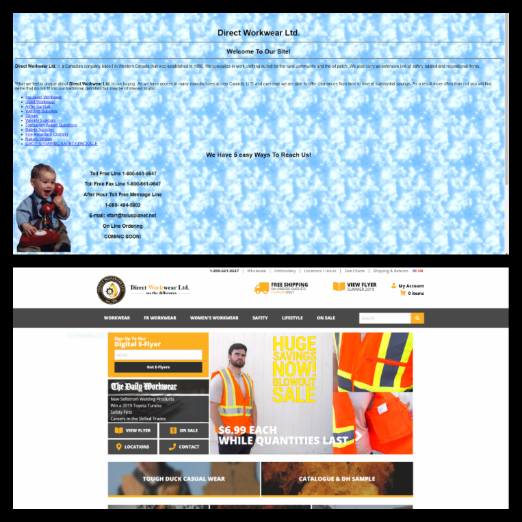 Old Direct Workwear Ltd. Web page, compared with current website
